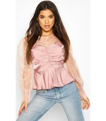 organza sleeve ruched peplum woven blouse, blush