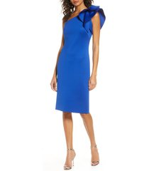 women's eliza j one-shoulder scuba crepe cocktail dress, size 12 - blue