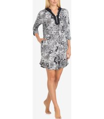 ellen tracy split-neck printed knit sleepshirt nightgown