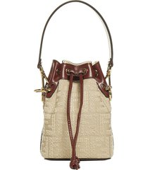 fendi mon tresor ff logo rafia and leather mini bucket bag