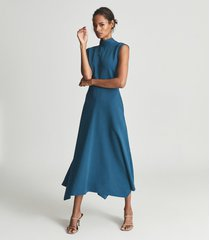 reiss livvy petite - petite open back midi dress in teal, womens, size 12
