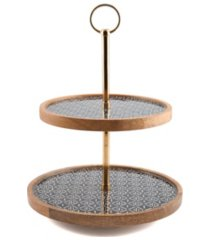 closeout! thirstystone modern global two-tier wood & enamel stand