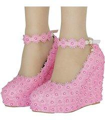 flor de encaje para mujer una palabra correa plataforma de gran tamaño cuñas de boda zapatos