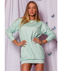 vestido camisetão verde menta-m - verde - feminino - poliamida - dafiti