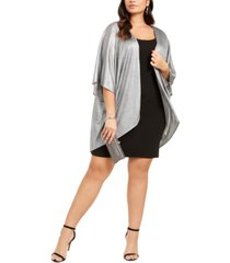 love squared trendy plus size shift dress & metallic cover-up