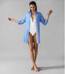 reiss sicily - linen shirt dress in pale blue, womens, size 10