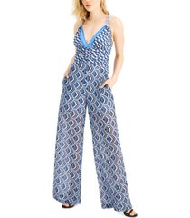 guess printed wide-leg jumpsuit