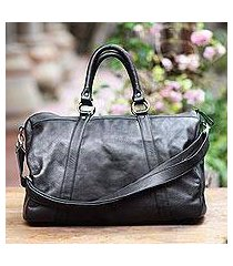 leather travel bag, 'minggat in black' (indonesia)
