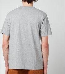 maison kitsuné men's tricolour fox patch classic pocket t-shirt - grey melange - xxl