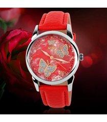 reloj de cuarzo de señora de cara de mariposa-rojo