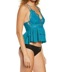 free people adella camisole, size medium in teal at nordstrom