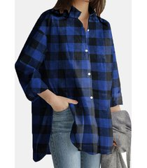 camicetta allentata casual a maniche lunghe con stampa scozzese con tasche