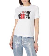 camiseta de algodón con logo blanco calvin klein