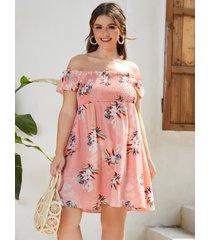 yoins plus talla estampado floral fruncido sin espalda diseño midi vestido