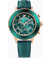 orologio octea lux chrono, cinturino in pelle, verde, pvd oro rosa