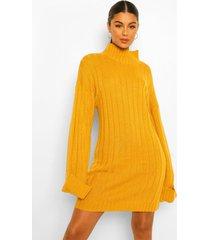 jumbo geribbelde maxi trui jurk met wijde mouwen, mustard