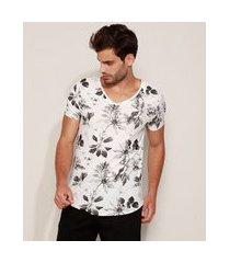 camiseta masculina estampada de folhagem manga curta gola v branca