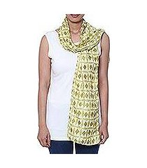batik silk scarf, 'batik diamonds' (india)