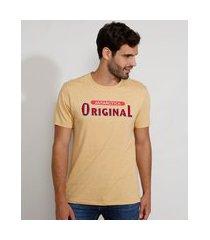 camiseta masculina manga curta gola careca original mostarda