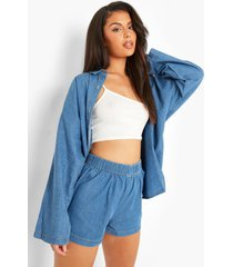 oversized chambray blouse met knopen, mid blue