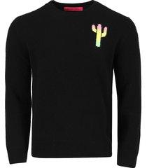 magic cactus cashmere sweater, black