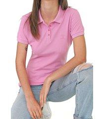 camisa polo colcci reta logo rosa