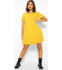 basic frill sleeve smock dress, mustard