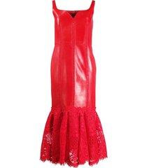 alexander mcqueen lace panel midi dress - red