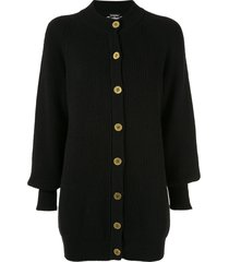 chanel pre-owned 1994 longline cashmere cardigan - black