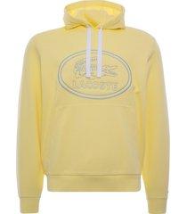 lacoste embroidered logo piqué fleece hoodie | jaune | sh05332-wwl
