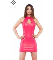 * soleil by xxx collection roze leren jurk met opening bij borsten
