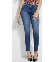 jeansy fason skinny z postrzępionym wykończeniem w pasie