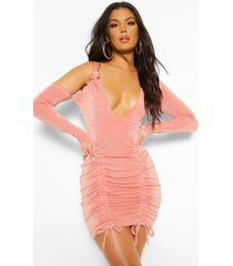 one shoulder textured slinky ruched mini dress, peach