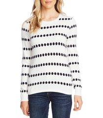 women's vince camuto dot jacquard crewneck cotton blend sweater, size x-large - ivory