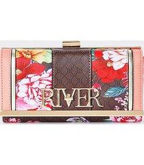 river island womens brown 'river' floral monogram zip purse