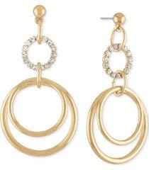 rachel rachel roy gold-tone pave multi-circle drop earrings