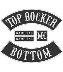 "custom embroidered 12"" full vest set rocker patch biker patch (b) - 5 pc"