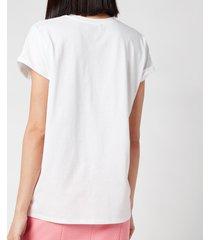 balmain women's flocked logo detail t-shirt - blanc/noir - l