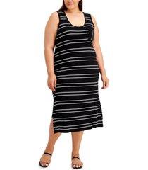 calvin klein plus size striped midi dress