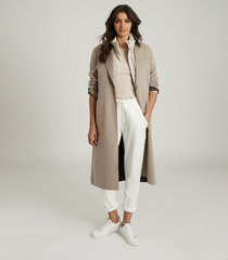 reiss elyse - wool blend reversible longline overcoat in mink, womens, size 12