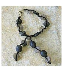 recycled bead bracelet, 'pretty taupe' (ghana)