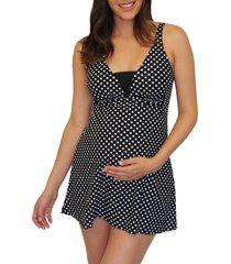 women's mermaid maternity dresskini maternity swim top, size medium - black