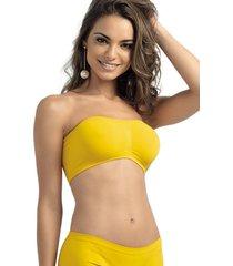 suti㣠busti㪠faixa ultraleve demillus 61900 amarelo ouro - amarelo - feminino - dafiti