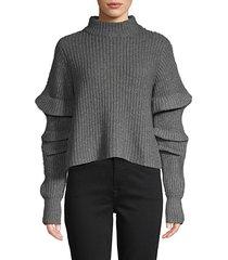ruffle-sleeve mockneck cropped sweater