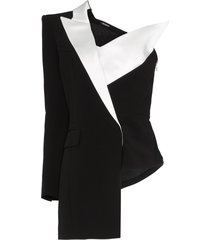 balmain asymmetric one-shoulder blazer - black