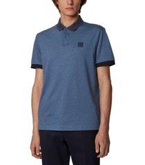 boss men's parlay 70 open blue polo shirt