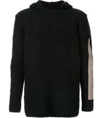 rick owens hooded patchwork sweatshirt - black