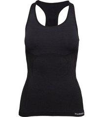 hmlclea seamless top t-shirts & tops sleeveless svart hummel