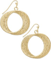 inc gold-tone diamond-cut multi-row twisted circle drop earrings, created for macy's