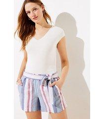 loft striped tie waist shorts